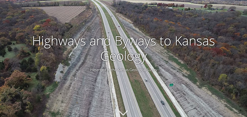 A Kansas roadcut reveals geological history through rock layers.