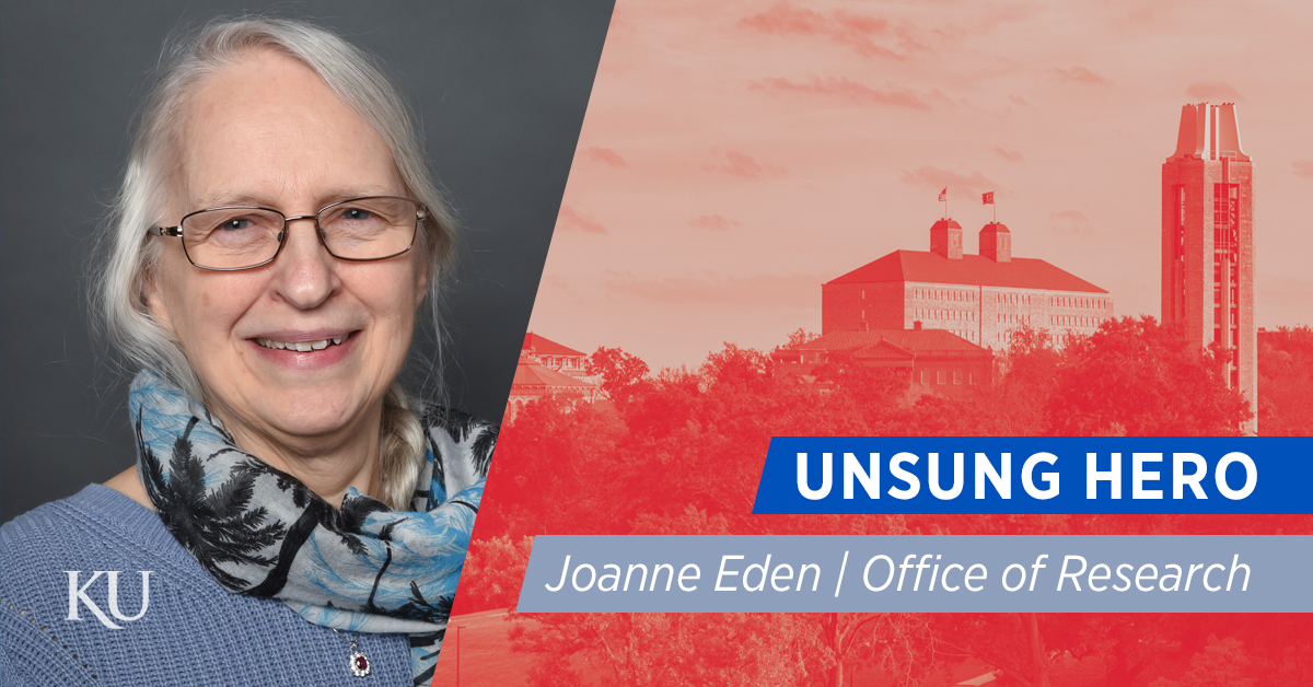 Joanne Eden, July 2019 Unsung Hero of KU Research