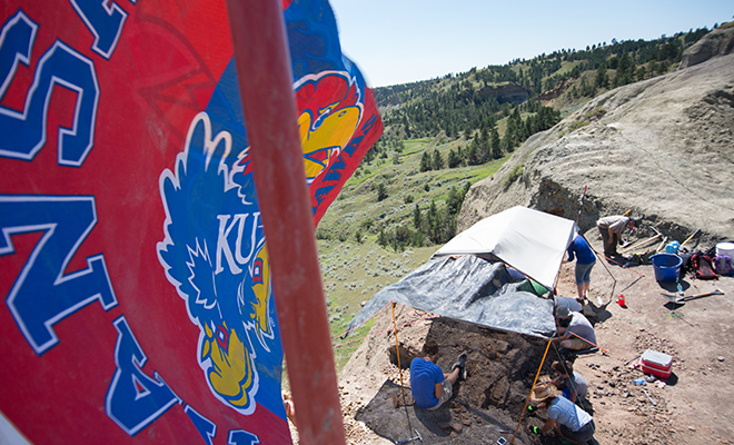 Geology field location with KU flag