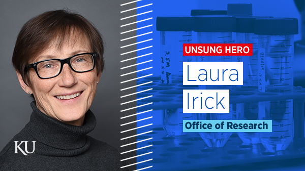 Laura Irick, September 2020 Unsung Hero of KU Research